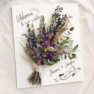 キャンバスに造花をつけて世界に一つだけのウェルカムボード